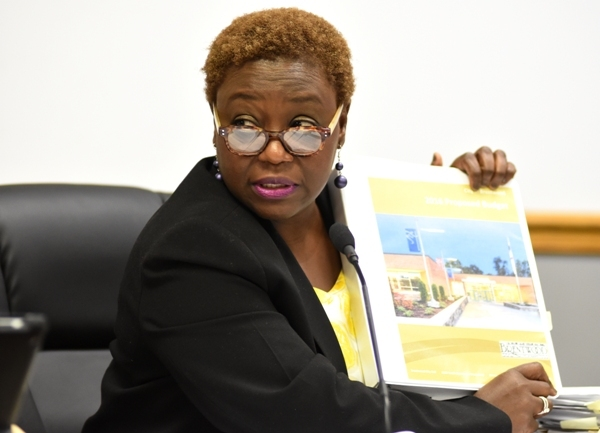"""City Administrator Bola Akande was called on many times to answer questions during the budget discussion. At one point, to stress that the budget is not etched in stone, she held it up and said, """"When you look at the binder it says Proposed Budget."""""""