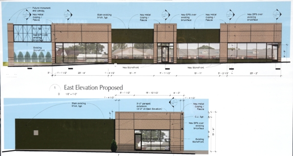 Architectural renderings of the east front and south side of the four businesses at 2013 to 2019 S. Brentwood Blvd.