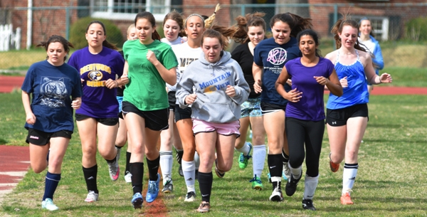 The BHS girls soccer team runs laps at practice on March 23 at Norm West Park. There are 19 students on the team. (All photos by Steve Bowman)