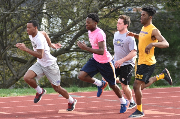 Back to try to improve on their fifth-place state finish in the 400-meter relay are (from left) Justice Harris, Kaylon Jenkins, Jacob Clay and Deshaun Johnson.