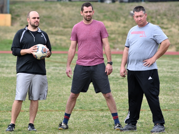 Brentwood head coach Cory Grage (center) and assistants Brian Wildgrube (left) and Rob Doebber.