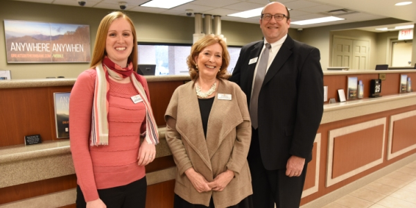 Eager to serve customers at the Brentwood branch of Great Southern Bank are (from left) banking services representative Shauna Barrett, banking center manager Laura Burnet and personal banker Tim Snare. Burnet and Snare live in Brentwood. (All photos by Steve Bowman)