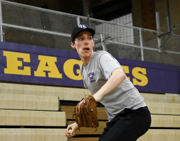 SethWinkleman practices pitching in the BHS gym last month.