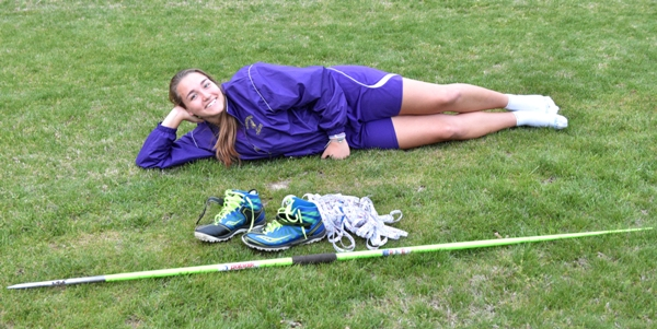 After the Brentwood Invitational Rivera poses with her javelin, javelin shoes and the broken tape measure.
