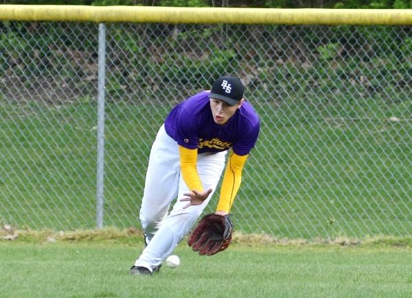 Alex Cobb retrieves a DuBourg base hit in center field.