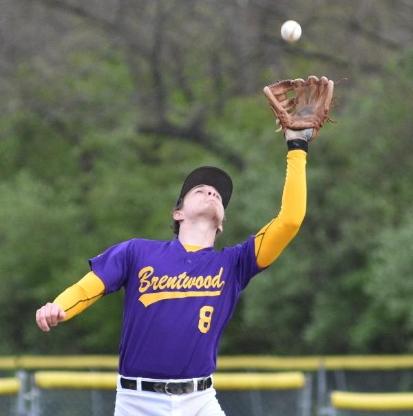 Skylar Sappington catches a DuBourg fly ball.