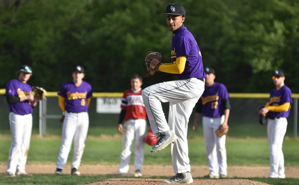 Butters Jones warms up after taking over on the mound in the sixth inning against DuBourg.