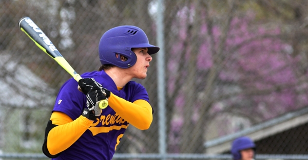 Skylar Sappington triples in a run in the first inning against Bishop DuBourg on April 8 at Brentwood Park. (All photos by Steve Bowman)