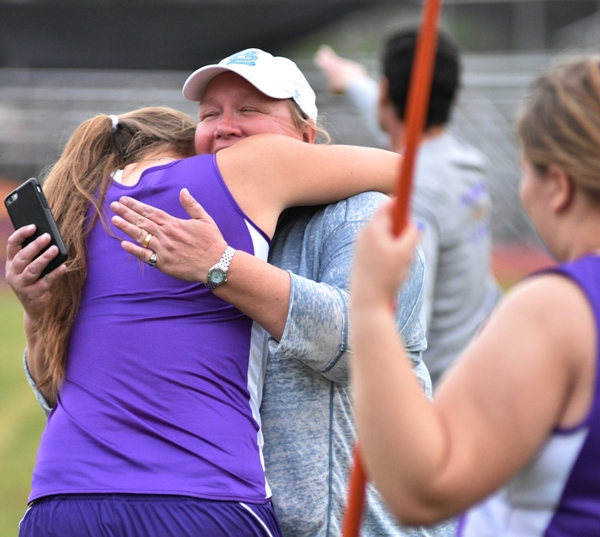 After hearing that she had qualified for the Olympic trials, Sophia Rivera hugs her mother, Michelle Hassemer.
