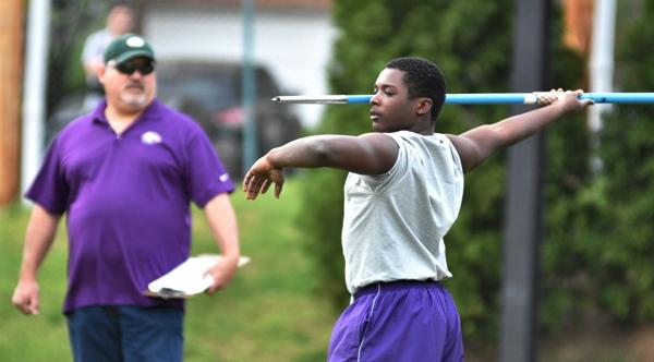 Tayveon Brown in the javelin throw.