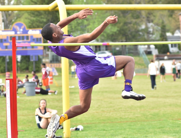 This and the following four photos show Justice Harris clearing 5 feet 8 inches in the high jump. He ended up taking second place after clearing 5 feet 10.