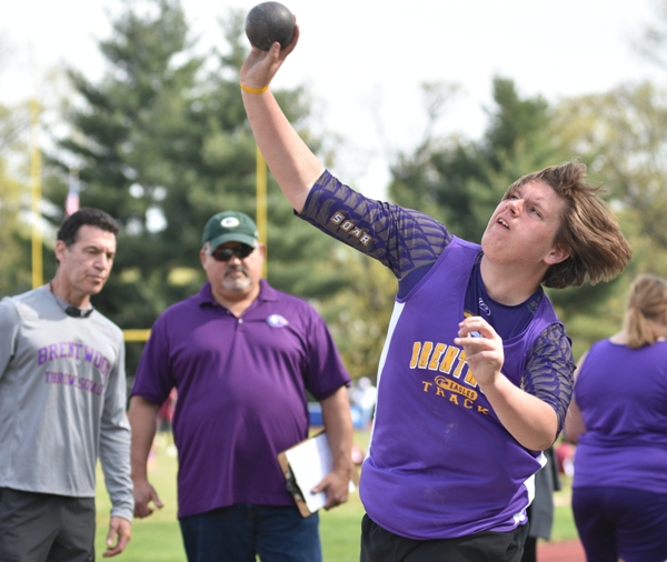 Mike Doebber in the shot put.