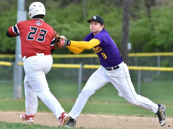 Skylar Sappington tags out Dubourg's Jim Smith at second base in the third inning.