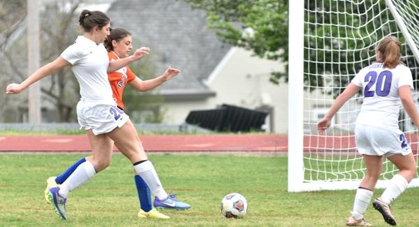 Megan Shipley gets a shot on goal that goes just wide left.
