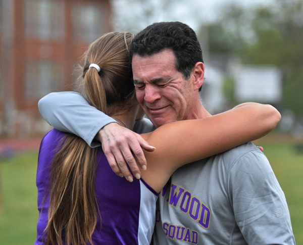 Sophia Rivera's throwing coach Ron Eichaker cracks with emotion after seeing her record-breaking mark in the javelin.
