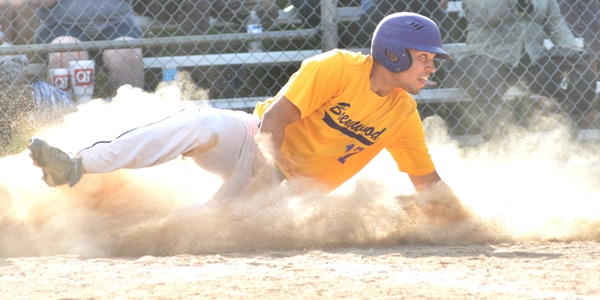 Mike Mills slides home to make it 3-2 in the fifth inning. (All photos by Steve Bowman)