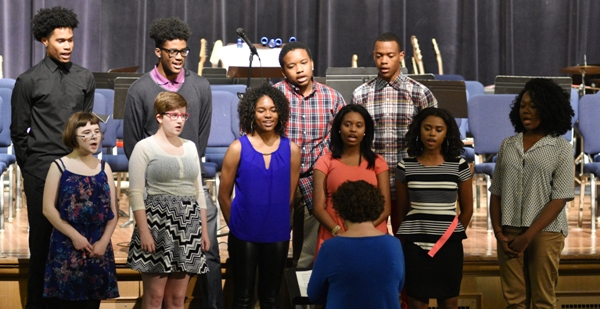 Choir members are identified from left to right. Front row: Holly Record, Paige Reilly, Nija Price, Alesha Williams and Nyiah Thompson. Back row: Kamerson Kullum, Deshaun Johnson, Jordan Hayes and Justice Harris.