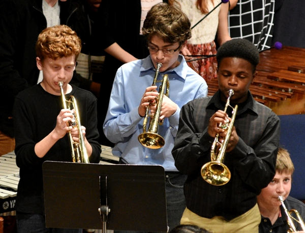 Seventh grade trumpeters Jeremy Forman, Ben Brown and Xavier Lane.