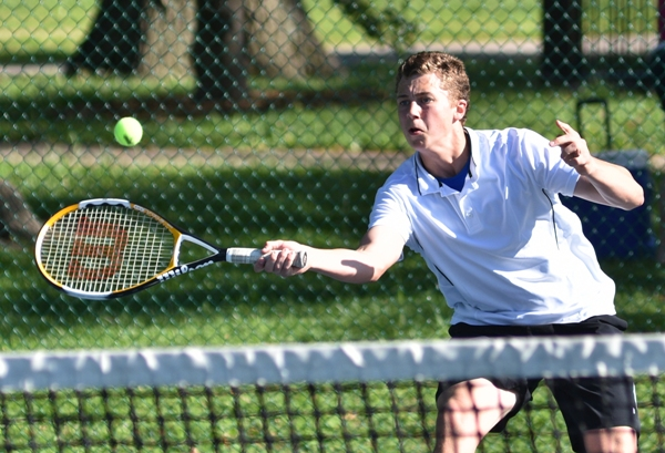 Justin Redfering plays a singles match against St. Mary's at Tower Grove Park on April 29. (All photos by Steve Bowman)