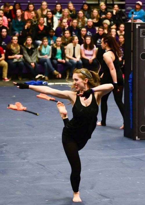 BHS graduate Mariah Logan performs with the McKendree Color Guard. The photo is on Facebook.