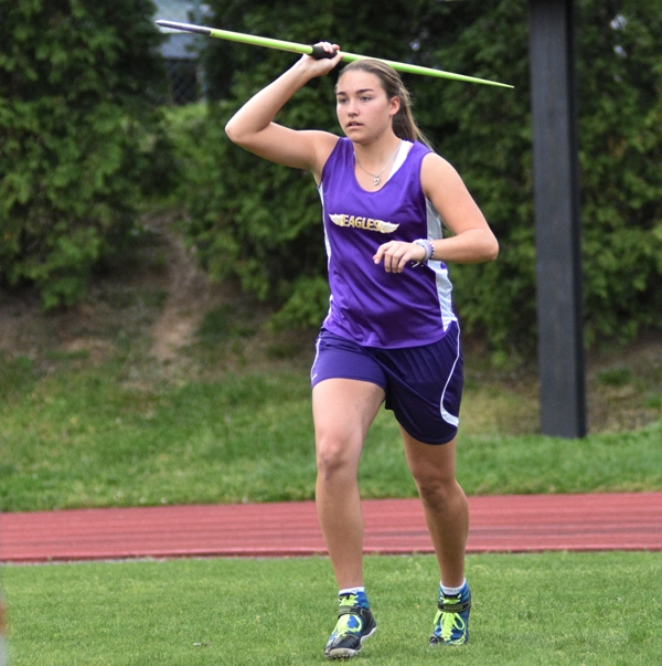 Rivera begins her approach in the javelin at the Brentwood Invitational on April 19.