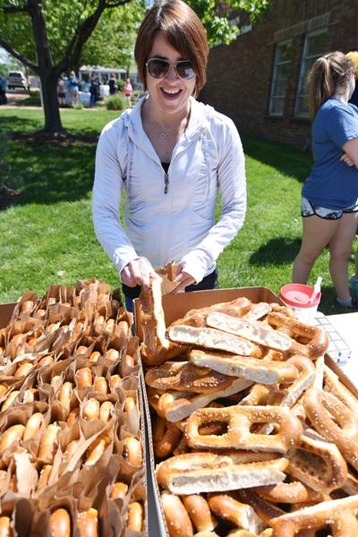 Kelly Goodwin offers pretzels.