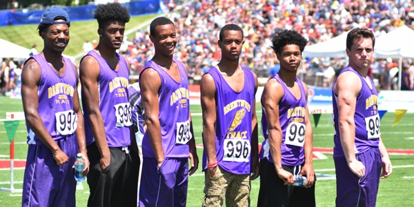 Brentwood's sprinters at Jefferson City High School's Johnson Stadium on Saturday are (from left)