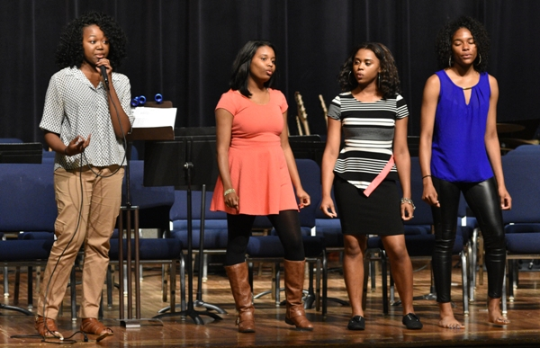 "Ruqqiyah Muhammad (left) sings Amy Winehouse's ""Tears Dry"" with backup from (from left) Alesha Williams, Nyiah Thompson and Nija Price."