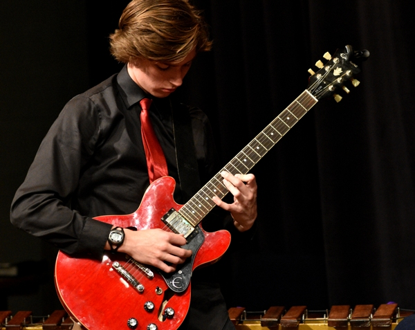"Eighth grader Chris Hartung solos during Horace Silver's ""Song for My Father."""