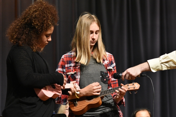 "Playing ""Heart and Soul"" on ukuleles are Zoey Tonis (left) and Bella Lancaster."