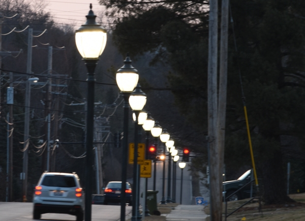 The street lights on Litzsinger Road, looking west. (All photos by Steve Bowman)
