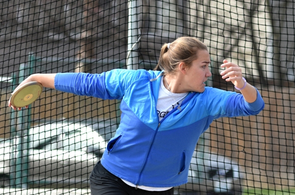 Rivera throws the discus in practice at BHS early this season.