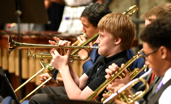 Eighth grade trumpeter Levi Job.
