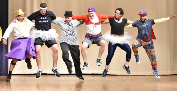 "In what has become an annual routine, the students' fathers, the ""dancing dads,"" give it all they have."